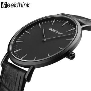 Image 1 - GEEKTHINK Top Brand di Lusso della vigilanza Del Quarzo degli uomini di Affari Casual Nero Del quarzo del Giappone della vigilanza del cuoio genuino ultra sottile orologio maschile nuovo