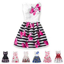 2020 Girls Dress Summer Butterfly Floral Print Teenagers Dresses for Girls Designer Formal Party Kids Vestido Girls Clothing()