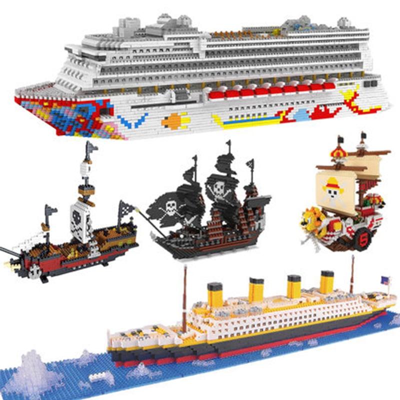 zrk luxo navio de cruzeiro forro grande barco branco 3d modelo diy diamante mini blocos construcao