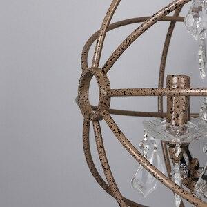 Image 4 - Ferrugem gaiola de ferro lustres E14 grande estilo Retro do vintage CONDUZIU a Iluminação da lâmpada do candelabro de cristal lustre para sala de estar quarto bar