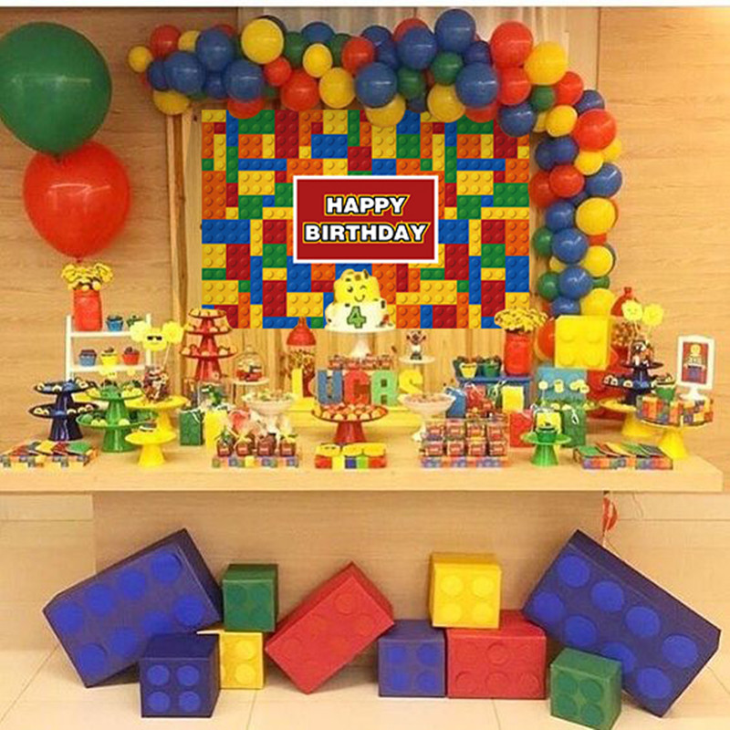 New Lego Party Disposable Tableware Sets Kid Boys Birthday Party Decorations Paper Plate/Cup/Straw/Tablecloth Baby Shower Suppli