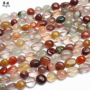 Нестандартные цветные рутилированные кварцевые бусины 7-9 мм, натуральные свободные бусины для самостоятельного изготовления ювелирных из...