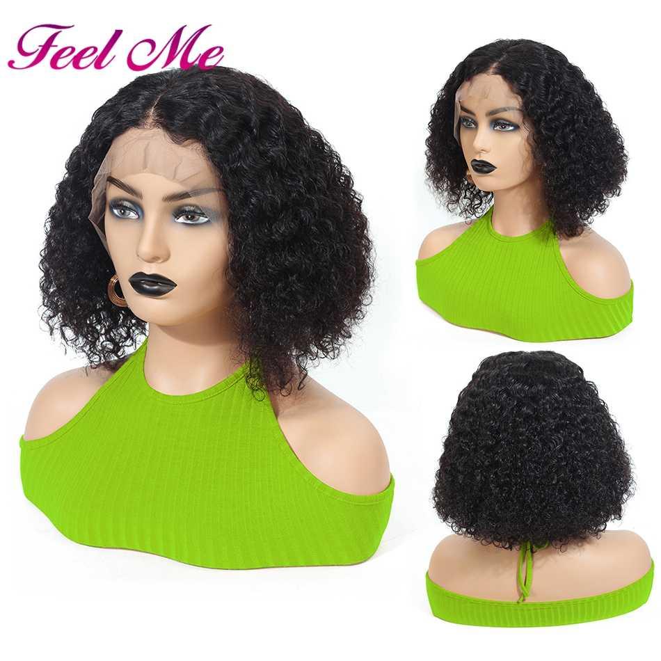 Pelucas rizadas cortas Afro peruano pelucas de cabello humano con frente de encaje con cabello de bebé para mujeres no Remy Peluca de encaje de 130%