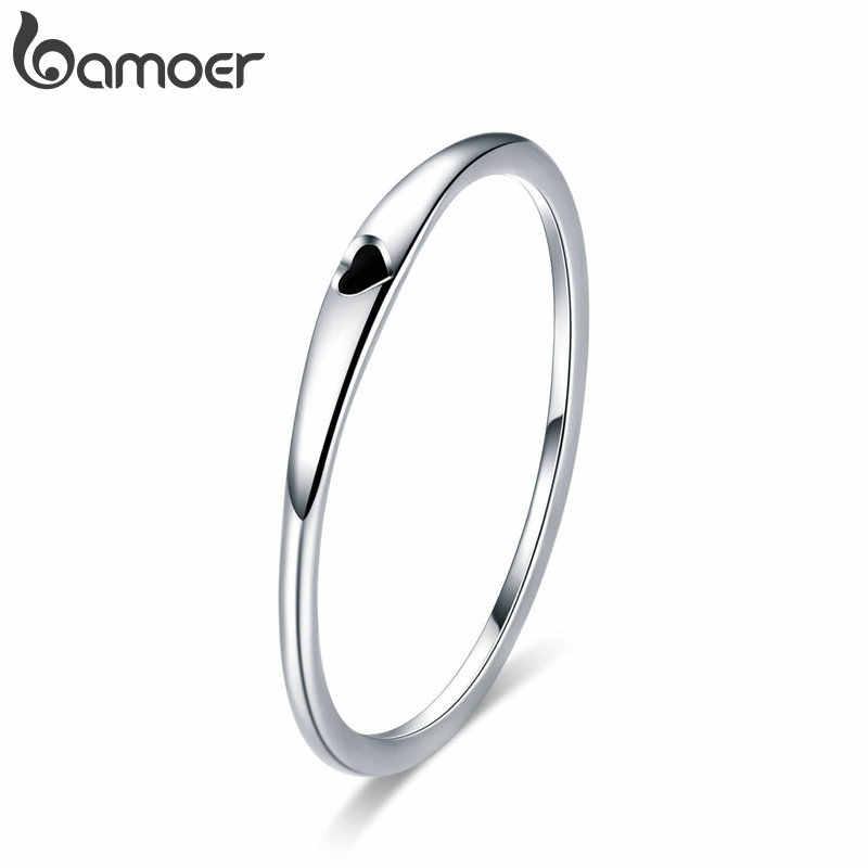 Anéis de prata refinada 925 bamoer, joias com esmalte vermelho e coração para mulheres, estilo círculo slim, novo scr620, 2019