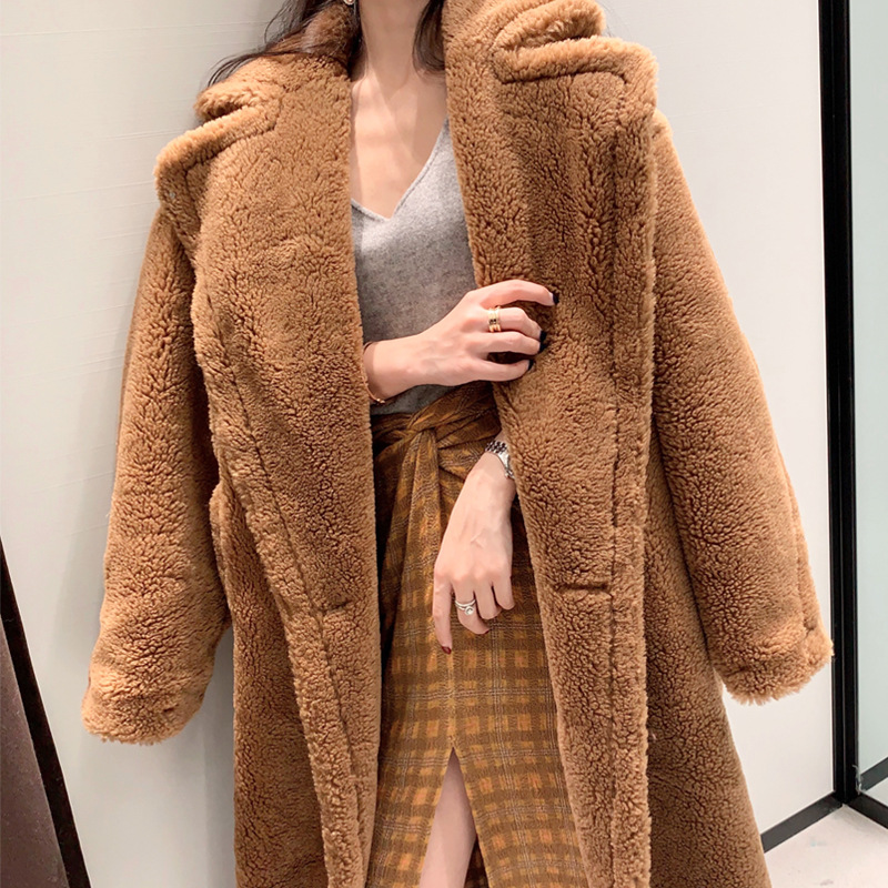 2018 New Long Winter Warm Coat Teddy Bear Faux Fur Pink And Leopard Print Women Coat With Pocket