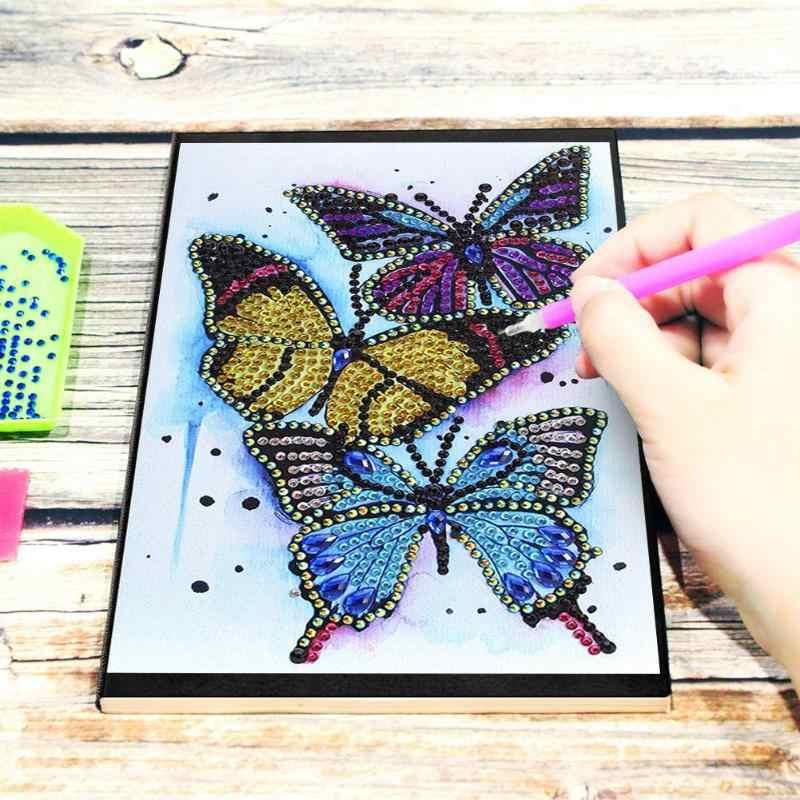 DIY Schmetterling Speziell Geformte Diamant Malerei Notebook 50 Seiten A5 Sketch Diamant Stickerei Kreuz Stich Handwerk Geschenk