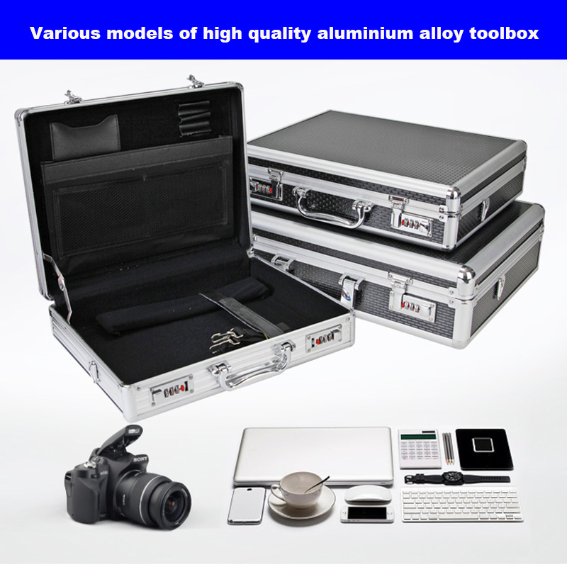 Aluminum Alloy Tool Case Portable Cipher Box Tool Safe  File Box Hardware Equipment Box Multi-function Large Size With Lock