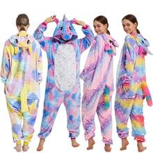 Monos con capucha de una pieza para adultos, pijama de Panda Kigurumi, pijama de unicornio para niños, mono de Licorne Stich
