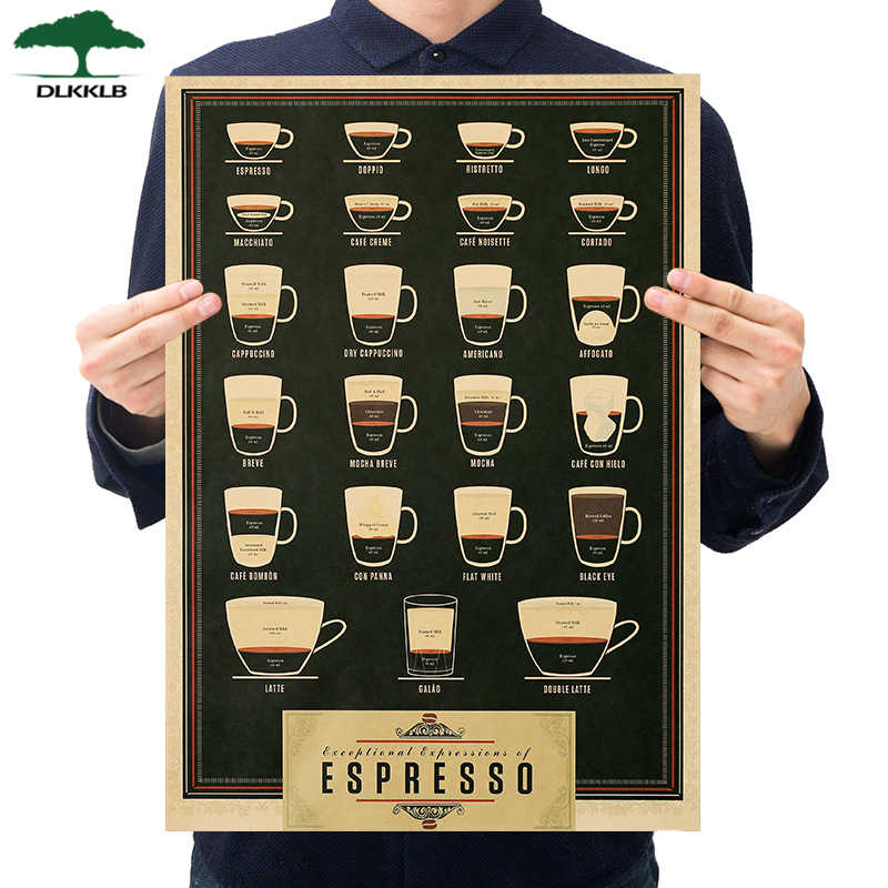Dlkklb café cerveja arma vinho coleção cartaz café bares decorativas pinturas vintage cartaz retro 51*35cm adesivos de parede