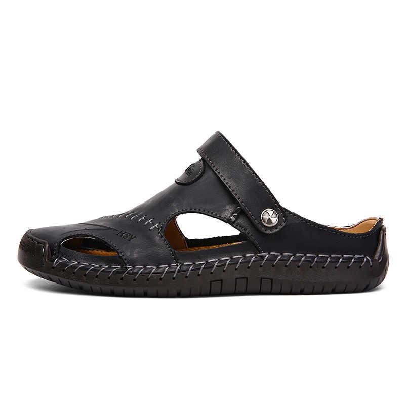 Sandalias de moda de verano para hombre, sandalias de playa de piel auténtica de calidad para hombre, cómodas sandalias de playa para hombre
