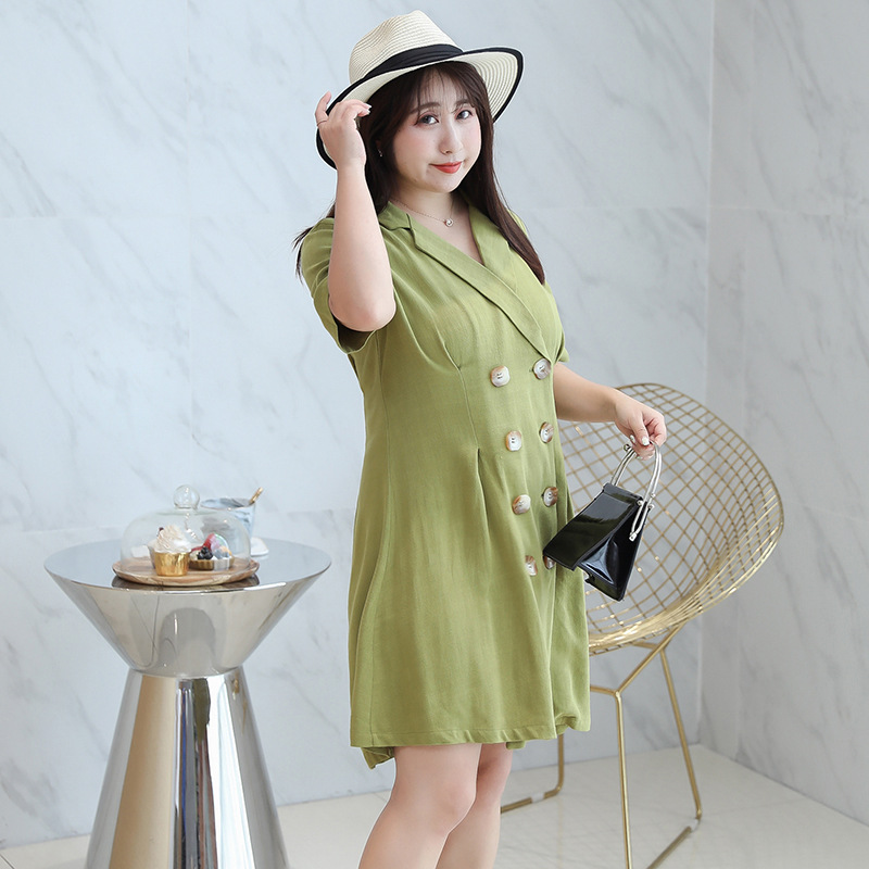[Xuan Chen] Large GIRL'S Suit Button Dress Summer New Style Plus-sized Skirt 6689