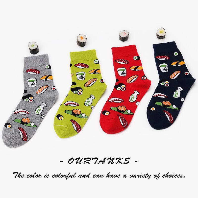 Harajuku Style Kawaii Fashion Woman Socks Creative Cartoon Life Food Sushi Pattern Long Socks Happy Ladies Cotton Socks