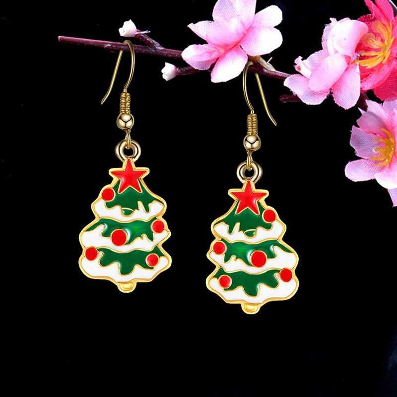 Yeni Noel küpe kolye Noel ağacı kar tanesi Noel Baba çizmeler dangle küpe kadınlar için hediyeler takı aksesuarları