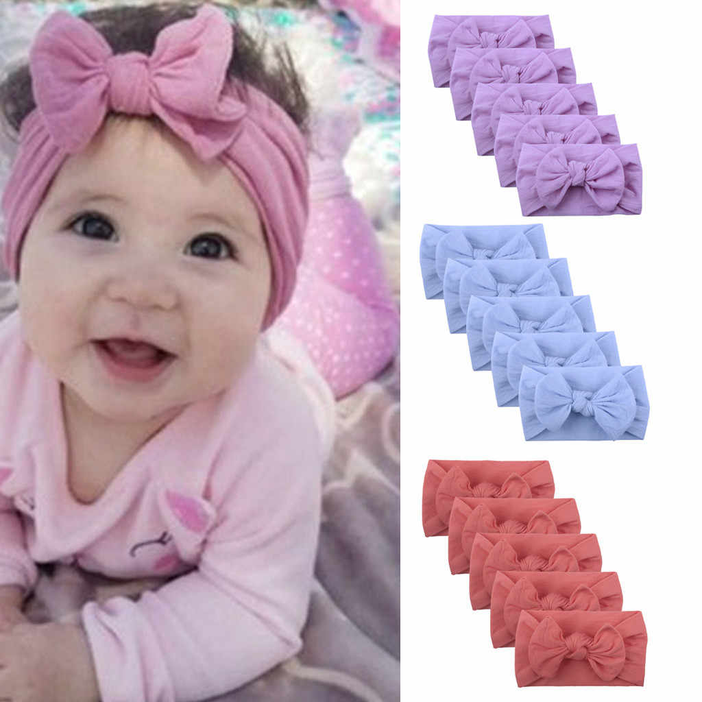 5PCS Baby Girl Headbands Kawaii Big Bows Knot Hair Accessories Solid Color Toddler Turban Headband Cute Headwear Headwrap Ties