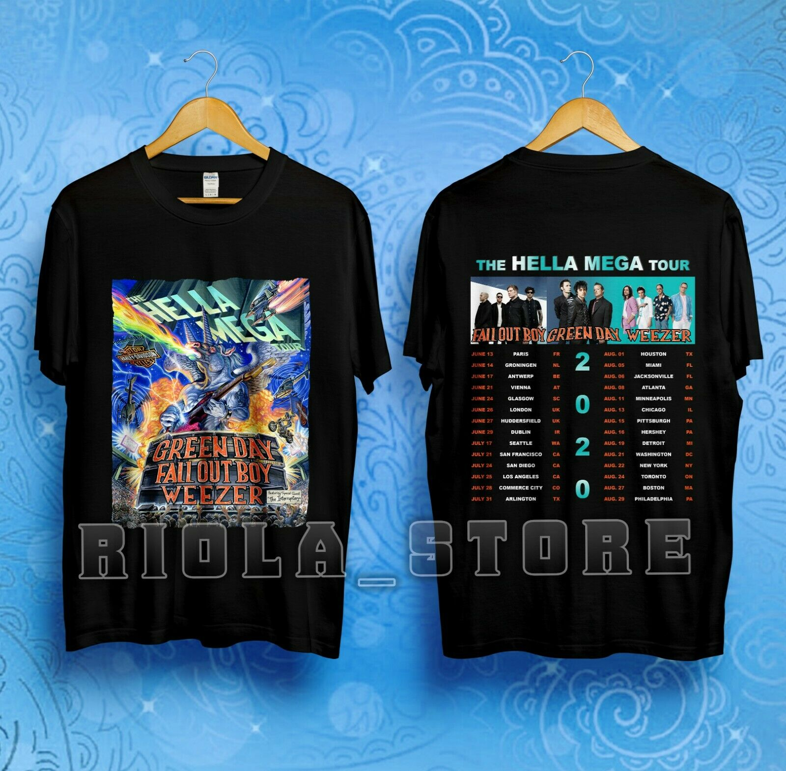 The Hella Mega Tour 2020 Green Day Weezer Fall Out Boy Dates T Shirt Size S 3 Xl Fashion by Ali Express.Com
