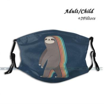 Sleepwalker Custom Design For Adult Kids Anti Dust Filter Diy Print Washable Face Mask Sloth Rainbow Sleepwalker Dream Cute image