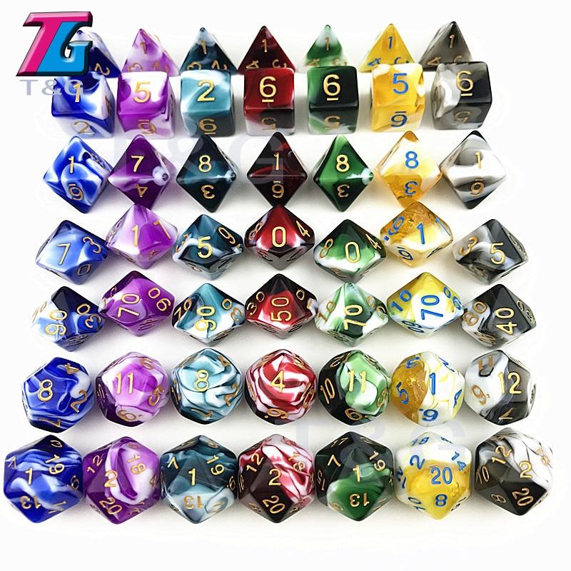 7PCS TRPG Dice For D&D D4-D20 Multi Sided Games Dices 7 Color Desktop Polyhedral Set Acrylic Plastic Toy Kit