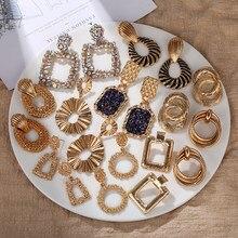 Pendientes Vintage geométricos de Color dorado para mujer, aretes grandes, aretes bohemios de gota, Joyería Moderna 2020