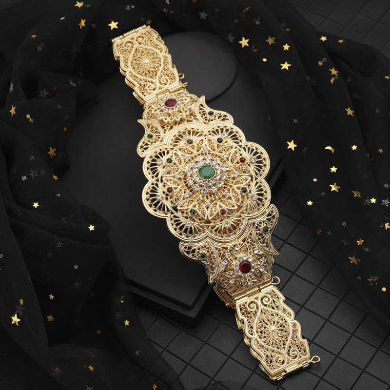 New Model Gold Waist Chain with Hollow Out Flower Belt Buckle  Arabic Royal Wedding Jewelry Belts Chic Kaftan BeltsBody Jewelry   -