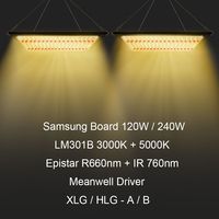 Hydroponics 120W 240W Full Spectrum LED Grow Light Kits Dimmable Samsung Boards 3000K 5000K 660nm 760nm for Indoor Plant