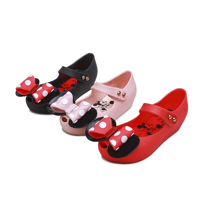 Mini Melissa 2019 New Jelly Sandals Polk Dot Mickey Bowknot Sandals Girl  Jelly Shoes Princess Sandals Comfortable Shoes SH19086