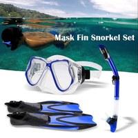 Snorkel Tube Mask Fin Snorkeling Three Piece Snorkeling Diving Suit Explosion proof Safe Diving Half Face Mask Fin Smorkel Set