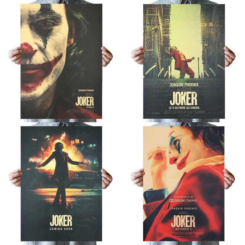 DLKKLB Джокер DC фильм Бэтмен супергерой постер «Клоун» Винтаж 51X36 см Крафт настенная бумажная наклейка для дома декоративная живопись