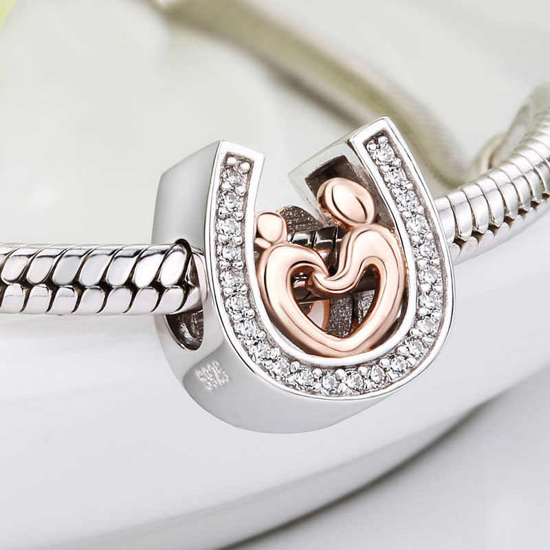 Silver 925 gold color mom and kid hand in hand charms horseshoe Beads with CZ Fit authentic Pandora Bracelet Jewelry making Gift