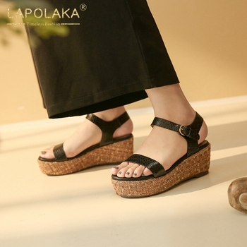 Lapolaka 2020 Drand Design Retro Genuine Leather Women Sandals Wedges Flatform Metal Decoration Pumps Summer Leisure Woman Shoes
