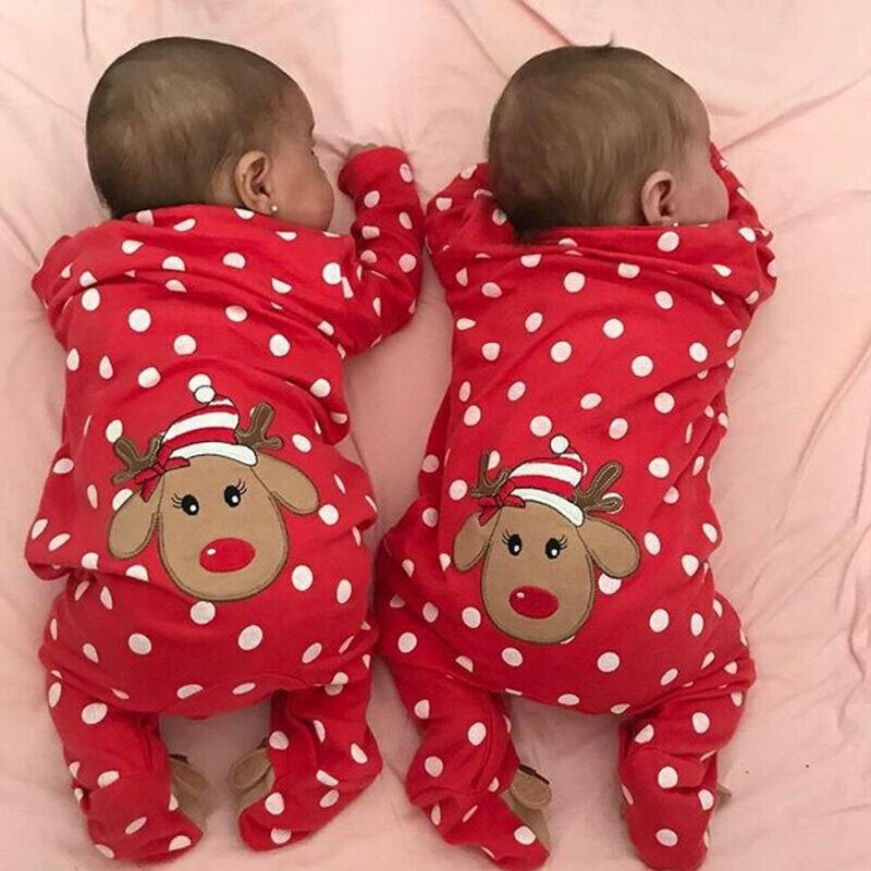 Weihnachten Baby Romper Neugeborenen Twins Junge Mädchen Langarm Eed Gepunktete Elch Strampler Weihnachten Kostüm Einteiliges Overall 0 -18 monate
