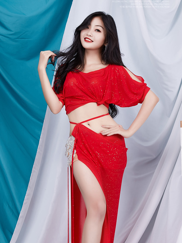 Belly Dance Costume women's long dress performance Set 2020 new suit short sleeve summer training clothes for Lady dance wear