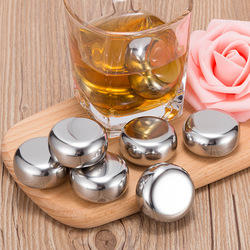 6pcs Reusable Whisky Stones Ice Cubes Set Food Grade Stainless Steel Wine Cooling Round Chilling Rock Party Bar Tool With Clip