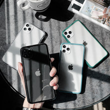 Candy Color Bumper Acrylic Clear Phone Case For iPhone 11 X XS XR XS Max 8 7 Plus Transparent Shockproof Protection Back Cover(China)