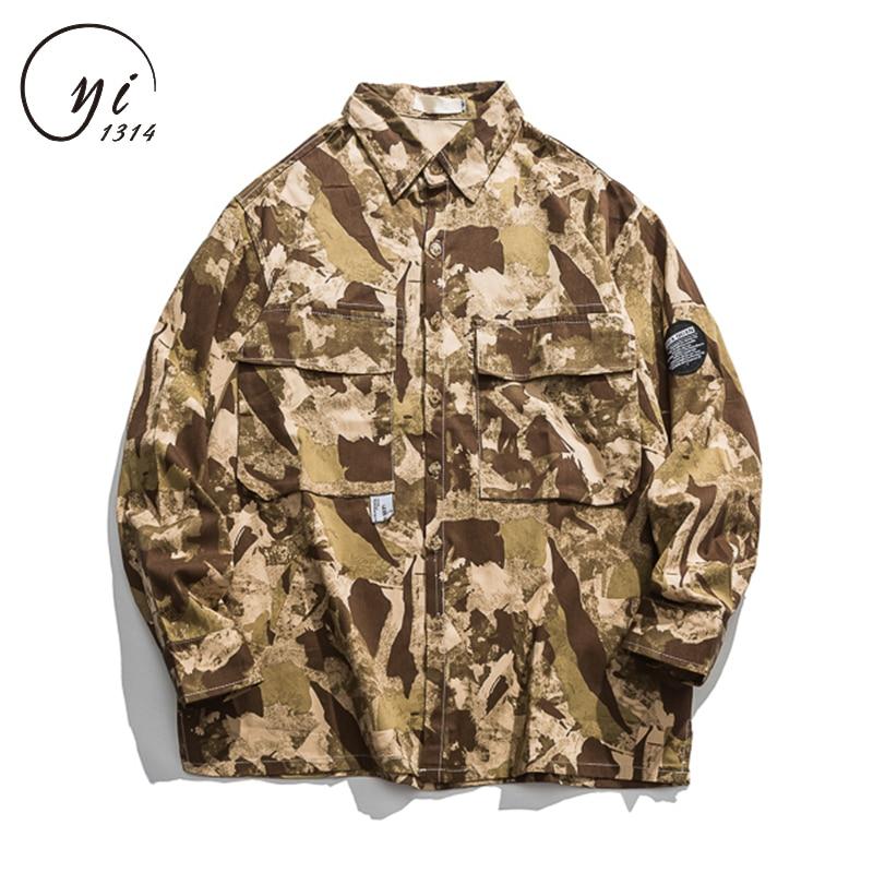 Japonais Camouflage Chemises Hommes décontracté Hip Hop Streetwear Slim Fit Chemise Design Automne Mode Hommes 2019 Camisas Para Hombre