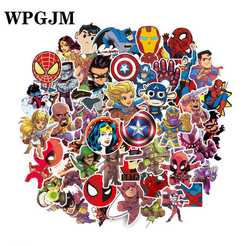 100Pcs  Marvel Stickers Pack Movies Character for Mobile Phone Laptop Luggage Suitcase Guitar Skateboard Car Waterproof