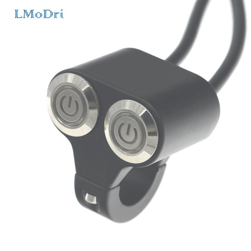 LMoDri Motorcycle Switches 7//8 22mm Handlebar Mount Switch Headlight Hazard Brake Light Power ON-Off with Indicator Light Blue Light