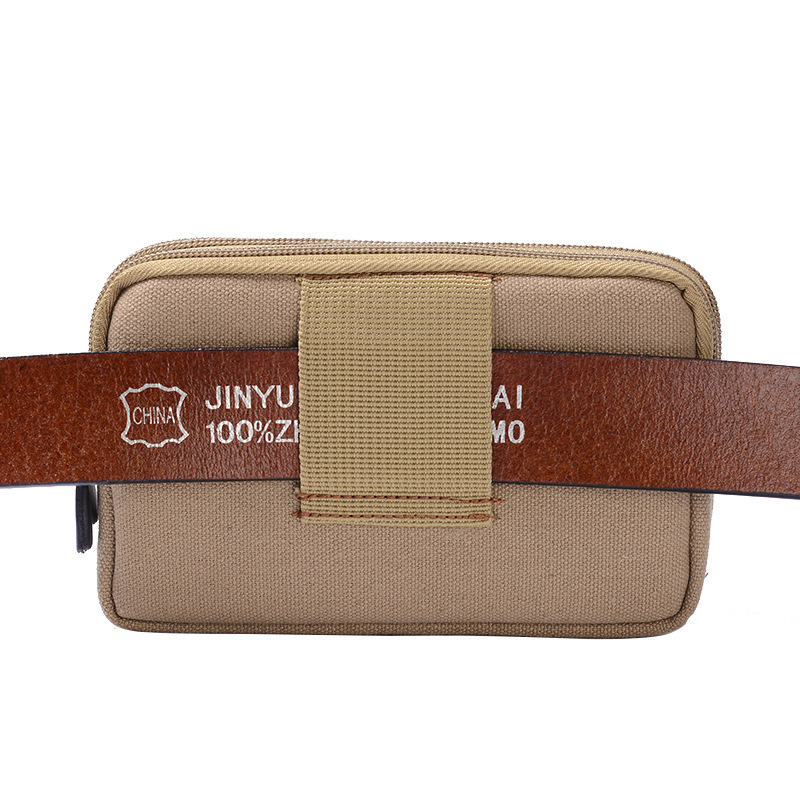 Multi-functional Verticle Wear Leather Belt Canvas Mobile Phone Waist Bag Men's Mortise Lock Middle-aged Change Key