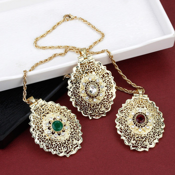 Sunspicems 2020 Gold Color Moroccan Pendant Necklace for Women Metal Arabesque Wedding Jewelry Caftan Chain Dubai Bijoux 2