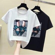 Camisetas mujer футболка с бантиком из мультфильма топы в Корейском