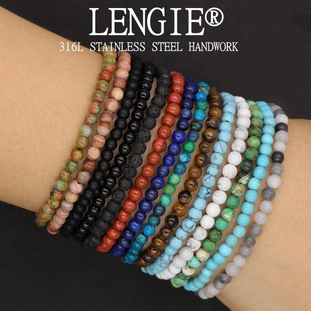 4mm Natural Stone Lapis Lazuli Bead Stretch Bracelet Tiger Eye Round Beaded Bracelets Bangles Jewelry for Men Women