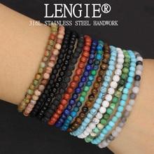 4mm pedra natural lapis lazuli grânulo estiramento pulseira olho de tigre redondo frisado pulseiras pulseiras jóias para homens