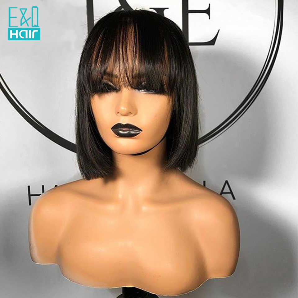 360 koronki przodu włosów ludzkich peruk dla kobiet Pre oskubane brazylijski Remy krótki BOB koronki przodu peruka z Bangs bielone węzłów 150%