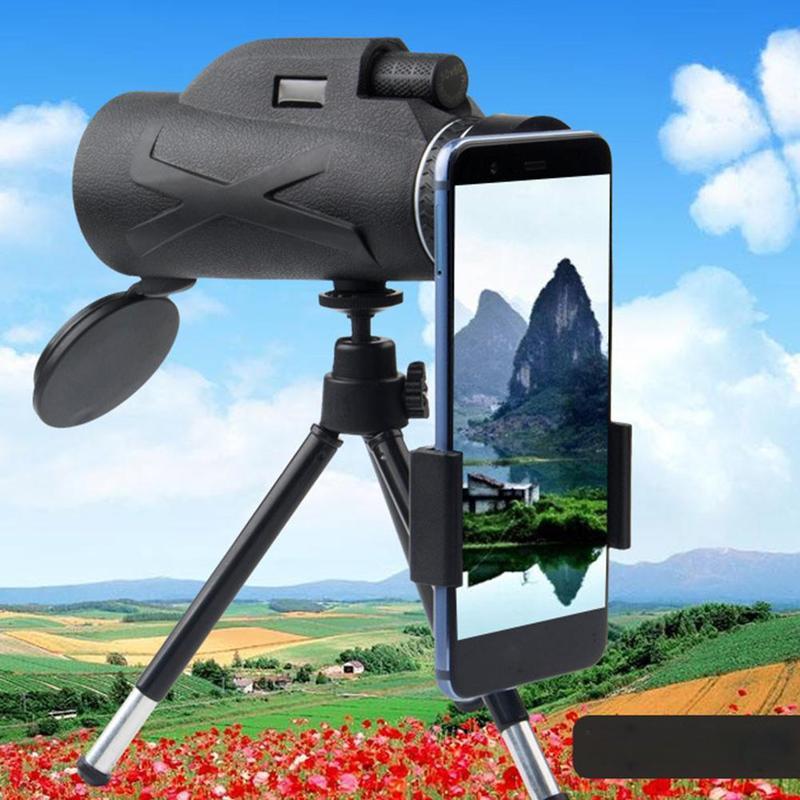 80x100 увеличение портативный монокуляр телескоп низкий светильник ночного видения HD ручной Монокуляр телескоп Зажим для телефона Штатив для...