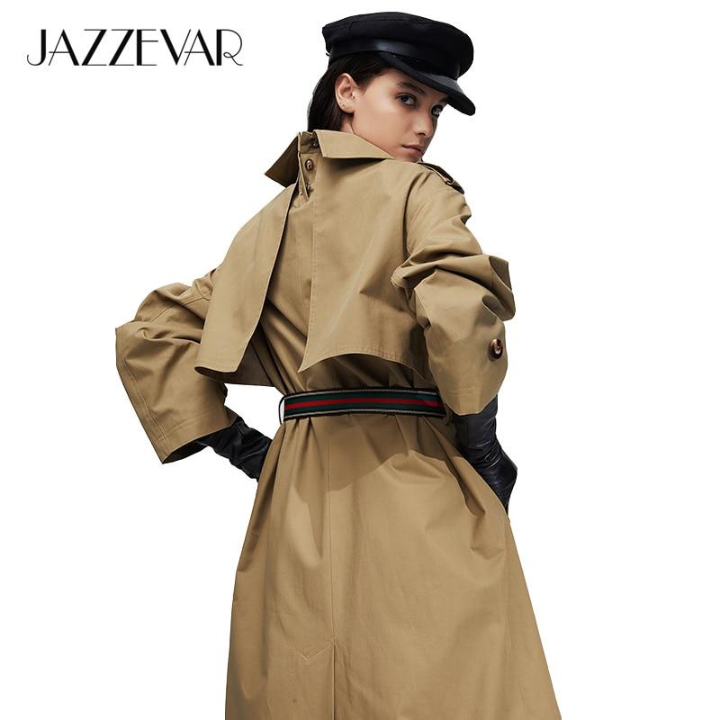 JAZZEVAR cáqui trench coat mulheres 2019 outono Nova chegada estilo de moda X-Longa de algodão Solto roupas com cinto de mulher roupas 9015