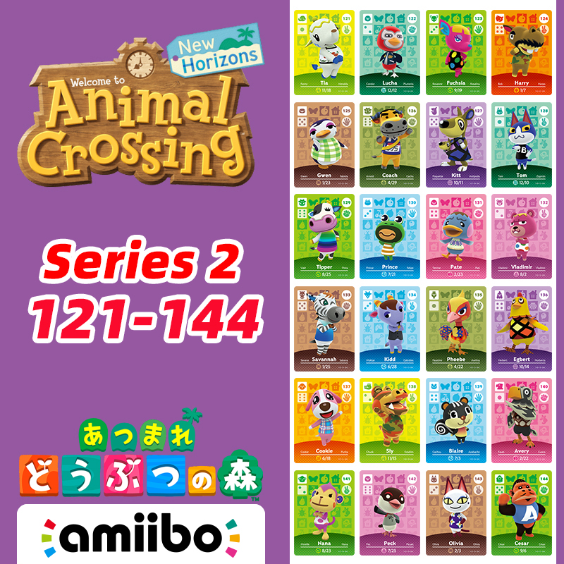 121-144 Animal Crossing New Horizons Amiibo Card Villagers Card With Tom/Kidd/Tia/Cookie/Olivia/Nana/Blaire Series Card 2