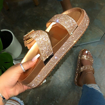 2020 Summer Fashion Women's Shoes Woman Platform Sandals Slippers Slides with Buckle Ladies Slippers Thick Sole Female Slippers