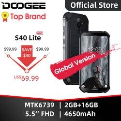 IP68 DOOGEE S40 Lite wytrzymały telefon komórkowy 5.5 calowy wyświetlacz 4650mAh 8.0MP odcisk palca czterordzeniowy 2GB 16GB Android 9.0