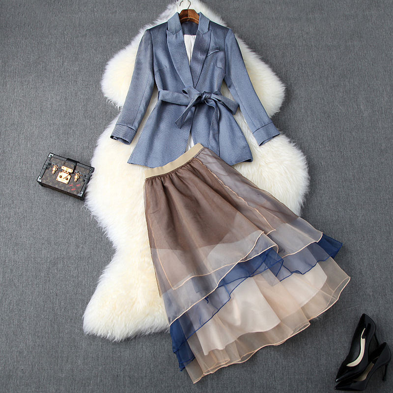 New 2019 Autumn Women Sashes Balzer Suits + Mid Calf Color Block Organza Ruffles Skirt Office OL Elegant Two Piece Set Blue