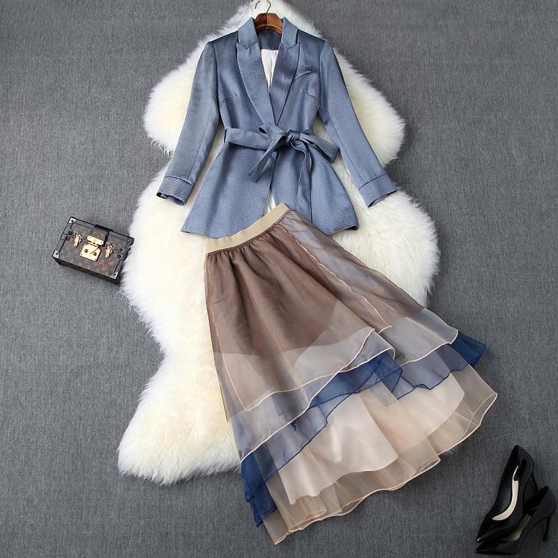 New 2019 Autumn Women Sashes Balzer Suits + Mid Calf Color Block Organza Ruffles Skirt Office OL Elegant Two Piece Set Blue