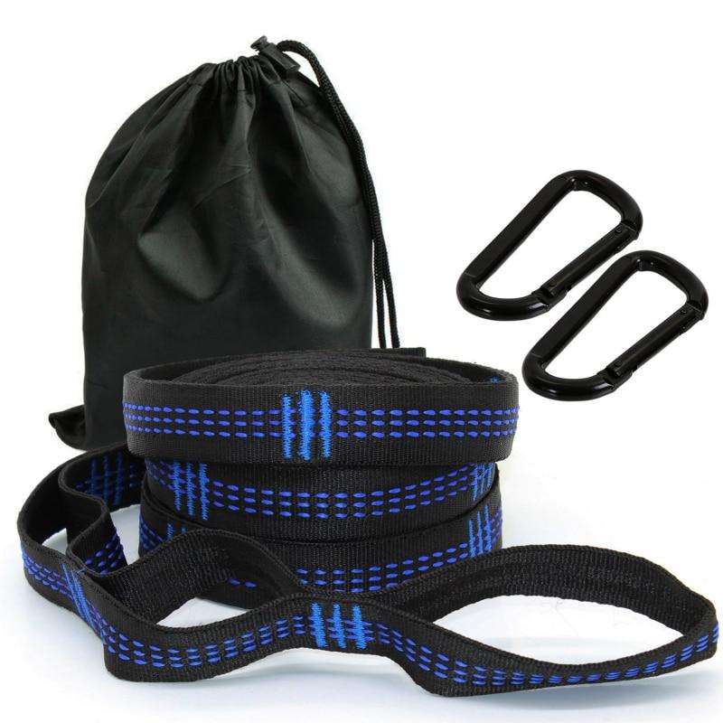 2PCS Adjustable Hammock Straps With Buckle Loops Outdoor Tree Hanging Aerial Yoga Hammock Strap Rope Belt Hamaca Colgante